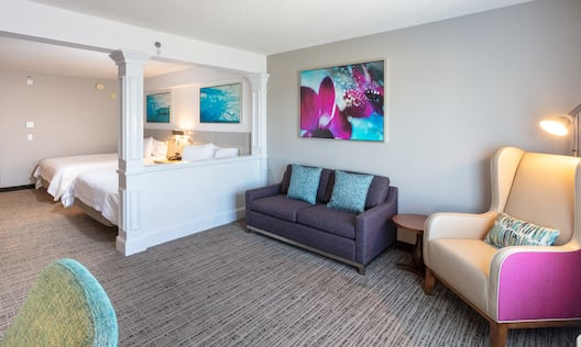 View of Living and Bedroom Area in Hotel Suite