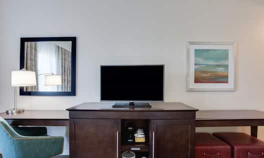 HDTV Work Desk and Coffeemaker in Hotel Guest Room