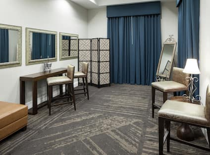 Event Dressing Room with Makeup Table, Chairs and Full Length Mirror