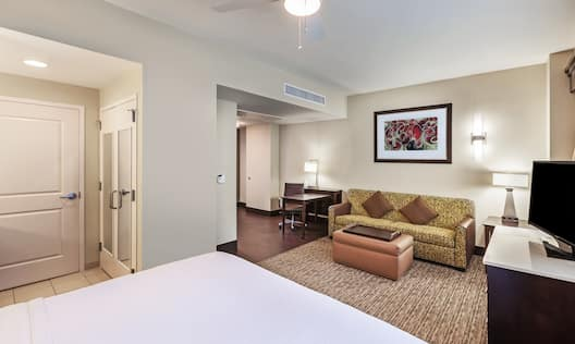 Studio Suite with Bed, TV, Lounge Area, and Work Desk