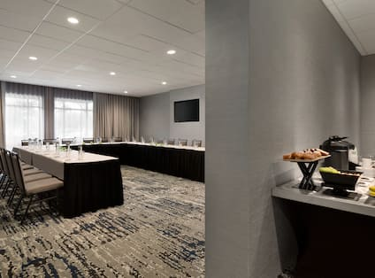 Meeting Room with Conference Table and Snack Table