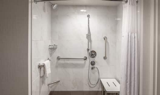 Roll-In Shower With Shower Seat, Grab Bars, Handheld Showerhead