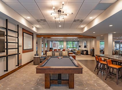 Pool Table and Lounge Seating in Lobby