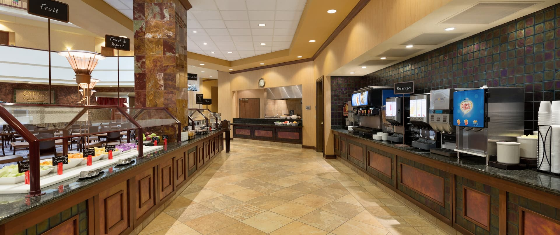 Breakfast Buffet Area And Beverage Station
