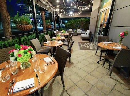 Grain Restaurant's Outdoor Patio at Night