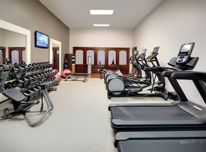 Fitness Center with Treadmills, Elliptical Machines, Dumbbells, and Room Technology