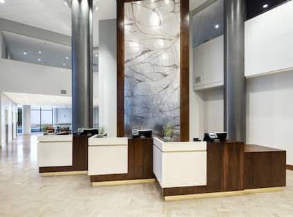 Front Desk Reception Area with Three Reception Desks