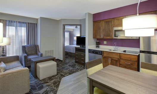 Homewood Suites by Hilton Dayton-South Hotel, OH - Suite Living Area, Kitchen and Dining Table