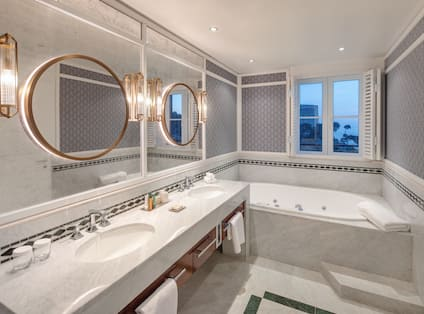 Imperial Suite Bathroom With Whirlpool Tub And Walk-in Shower