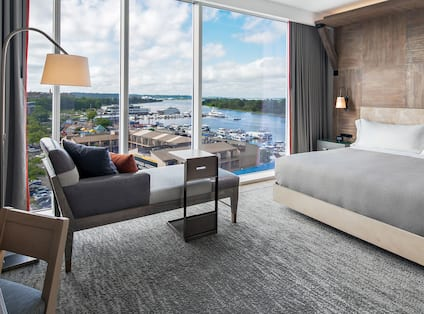 King Guest Room with partial river view