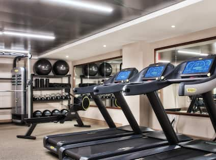 Fitness Center with Weights and Treadmills