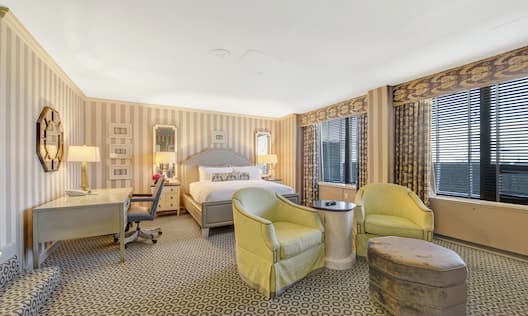 Jefferson Suite with Bed, Work Desk, and Lounge Are