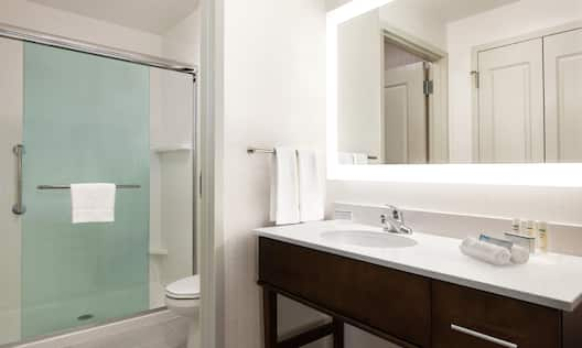 Guest Bathroom with Vanity, Mirror and Shower with Glass Doors