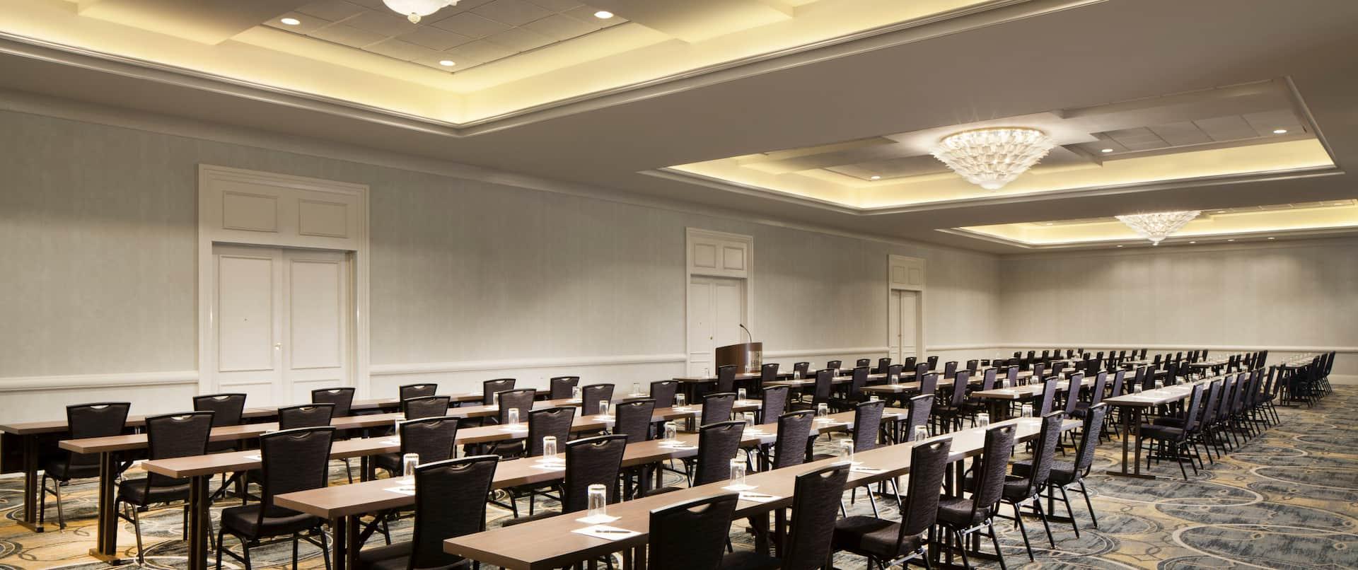 ballroom with classroom setup