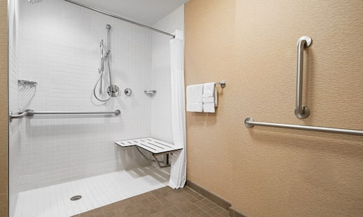 Bathroom with roll-in shower