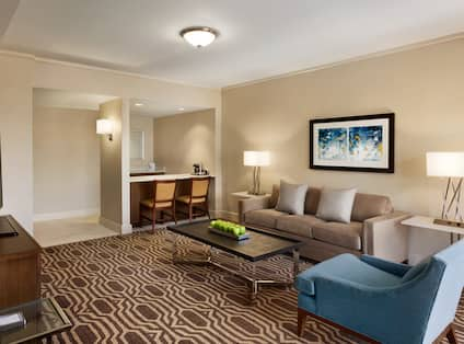 Suite living area with sofa, soft chair, coffee table, wet bar counter top with chairs, and TV