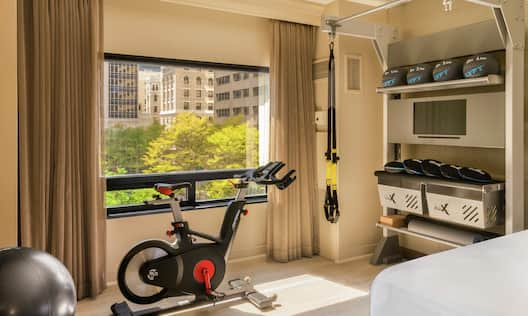 Exercise Ball and Exercise Bike in Guest Room