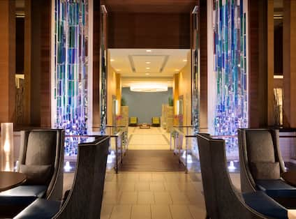 Lobby Seating, Art and Fountains With Dramatic Lighting