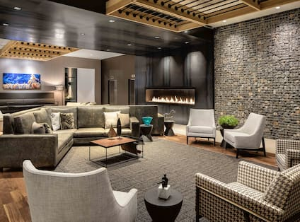 Lobby Area with Soft Seating and Fireplace