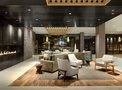 Lobby Area with Fireplace, Soft Seating and Windows