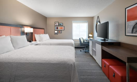 Guestroom with Two Queen Beds, Work Desk and Television