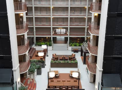 Hotel View of Atrium with Seating from Above