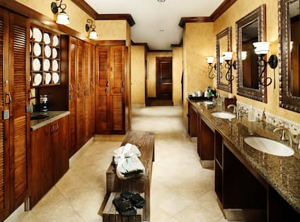 Spa Locker Room Sinks and Cabinets