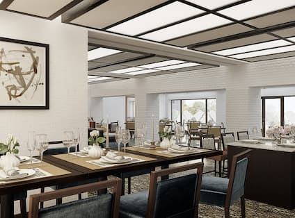Rendering of new event space with tables and chairs setup for banquet