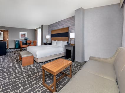 Accessible King Room with Sofa Bed Desk and TV
