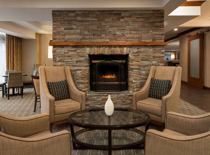 Lobby Seating Area with Fireplace