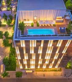 Birdseye view of the exterior of the HALL Arts Hotel Dallas, Curio Collection by Hilton, Texas, USA