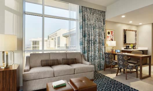 Studio Suite with sofa, desk, and wet bar