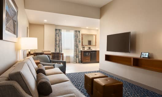 Corner Suite Living Area with Sofa and HDTV