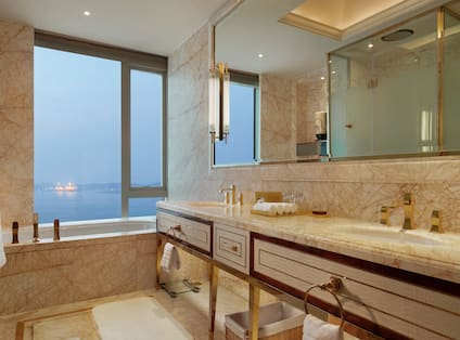 Bathroom with sinks and mirror