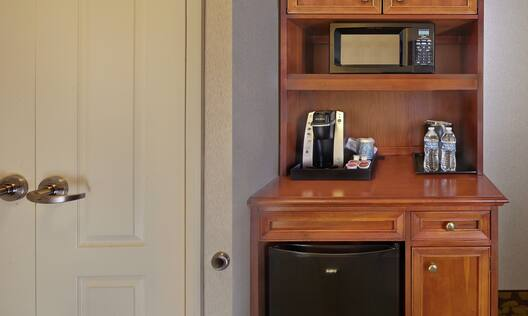 Guest Room Hospitality Center With Microwave, Keurig, Mini Fridge, and Amenities