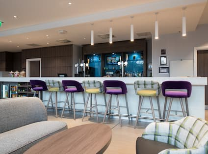 Hotel Bar Lounge, Bar Stools and Bar Counter with Sofa, Armchair and Coffee Table