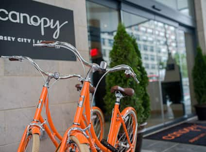 Bicycles in Front of Canopy Hotel Entrance