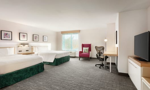 Accessible Room with Two Queen Beds, Work Desk, TV, and Outside View