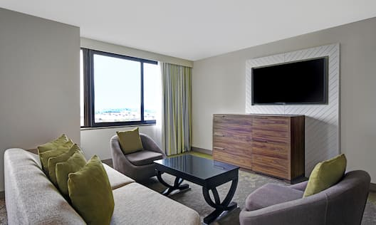 guest room with lounge area window and television
