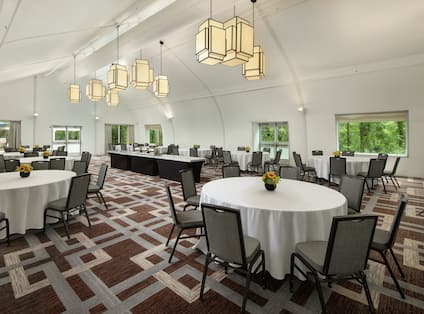 Pavilion Meeting Space with Banquet Setup