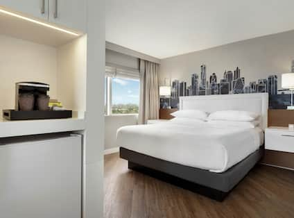 Guest Room with King sized Bed and Coffeemaker