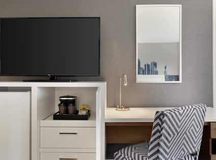 Desk Coffemaker and HDTV in Guest Room