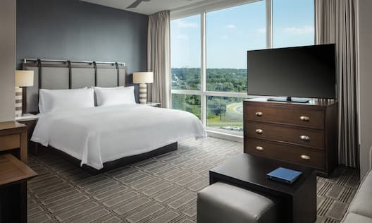 Guest Room with Large Windows TV and a King sized Bed