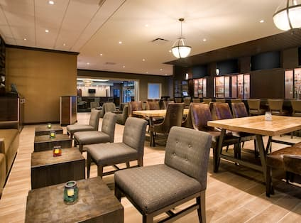 View of Cocktail and Dining Tables in Hudson Grille
