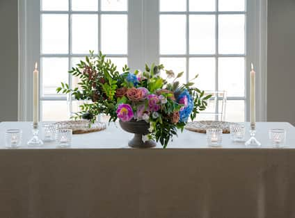 Couples table with Flowers and Candles