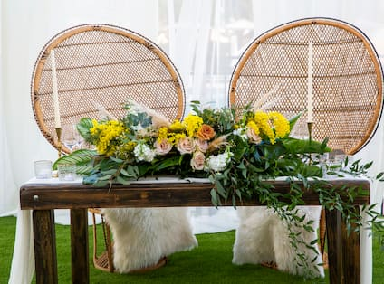 Sweethearts Table with Flowers and Candles at Palms Lawn