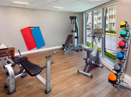 Fitness Center with Exercise Balls and Other Equipment