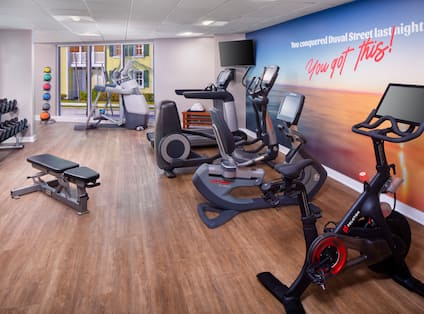 Fitness Center with Weights and Modern Equipment