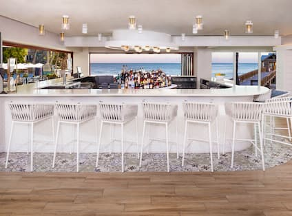 Bar Area with Sea View at Four Marlins Restaurant