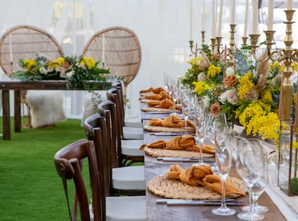 Palms Lawn Tent Setup for a Wedding